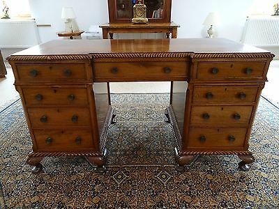 Antique Edwardian Chippendale Mahogany 9 Drawer Partners Writing Desk Table