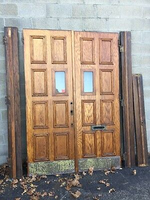 Cm 94 One Pair Antique Heavy Oak Double Church Doors With Frame