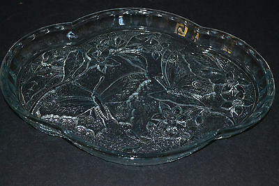 Sowerby Art Deco Ice Blue Glass Butterfly Tray