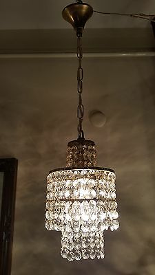 Antique Vintage Small French Swarovski Cut Crystal Chandelier Lamp 1940's 6 in