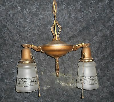 REWIRED Art Deco Neo Classical Pan Chandelier With Vintage Shades