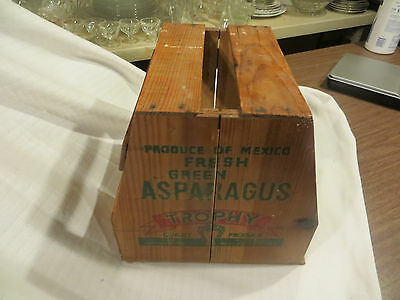 Vintage Old Wood Asparagus Crate Primitive Produce Crate  Box Trophy Brand USA