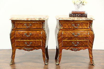 Italian Pair Vintage Marble Top Tulipwood Marquetry Bombe Chests