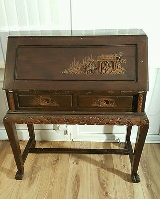 Antique Carved Oak Bureau With Carved Legs And Drawer Handles