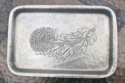 Antique Metal Aluminum Chrysanthemum Tray Hand Wrought 835 Continental Trademark