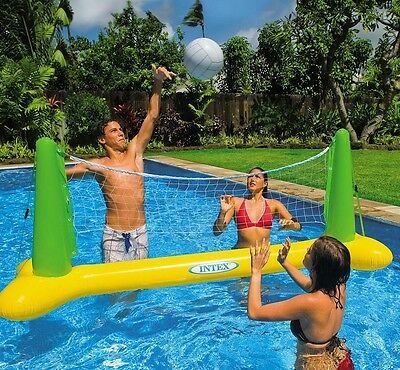 Swimming Pool Volleyball Set Net Ball 2.4m Beach Inflatable Floating Game Party