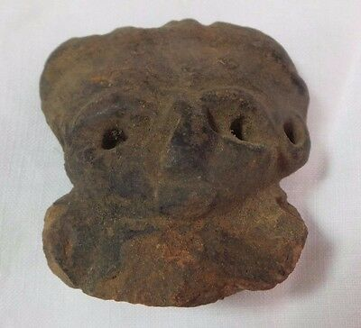 Pre Columbian Colombian Mayan Terracotta Figure Head #1
