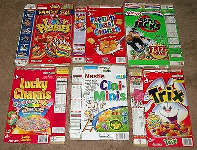 6 Diff. 95-02 Vintage Cereal Box Flats Cocoa Pebbles Trix French Toast Crunch+
