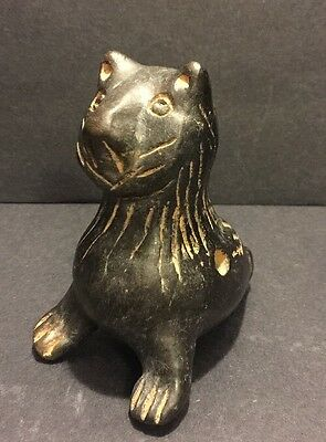 Black Clay Ocarina Pottery Folk Art Cat Bird Whistle Flute