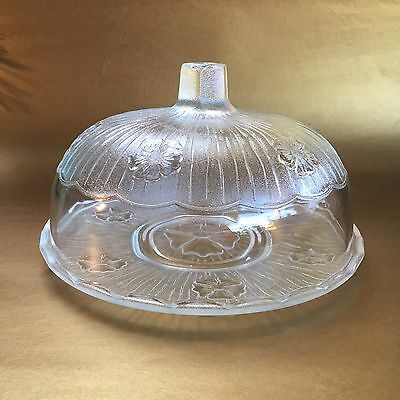 "9"" Vintage Glass Cake Dome Cake Cheese Snack Pastry Plate"