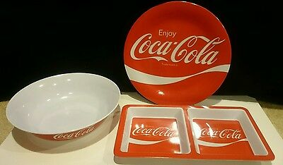 Enjoy Coca Cola Red Plastic Plate,Bowl and tray. Coke.