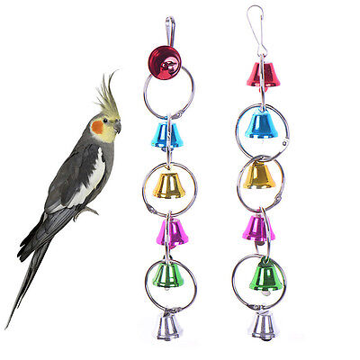 Bird Colorful Bell Toys Parrot Ringer Hanging Swing Cockatiel Parakeet Chew Toy