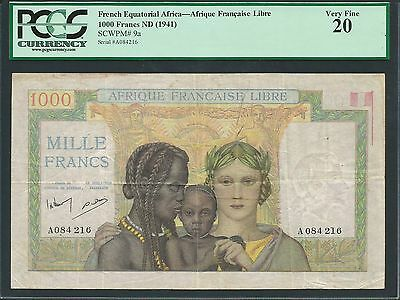French Equatorial Africa ND (1941) P-9a Very Fine 20 1000 Francs
