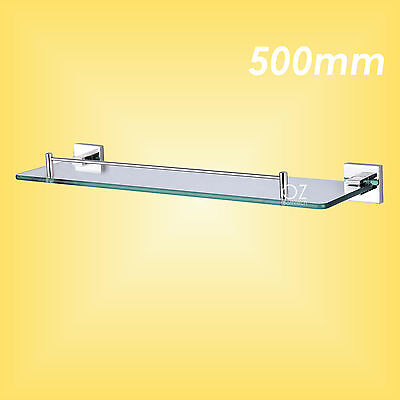 New Bathroom 500mm Shower Vanity Square Single Glass Shelf Storage Wall Mounted