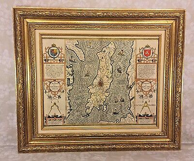 Antique Map Isle of Man Thomas Durham 1595 John Speed 1610 Hand Colored Framed