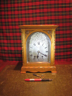 Antique Honey Oak Cased 8 Day Striking Mantel Clock  Finnigans Manchester /3765