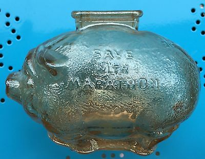 The Ohio Oil Company Save With Marathon Marigold Color Small Piggy Bank *Nice*
