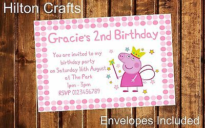Peppa Pig Personalised Party Invites Birthday Invitations x12 inc Envelopes
