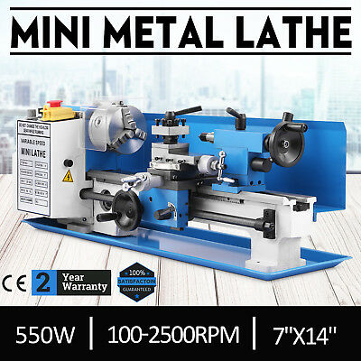 "550W 7""x14"" Mini Metal Lathe Metalworking Tool Tooling Woodworking Bench Top"