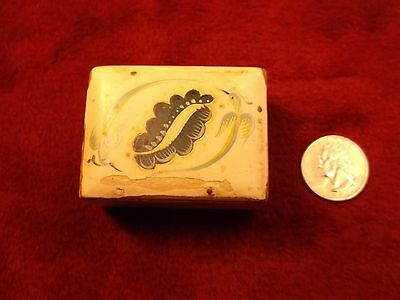 Small Old Vtg Antique? Wood Pill/trinket/jewelry Box, Painted White, Decorative