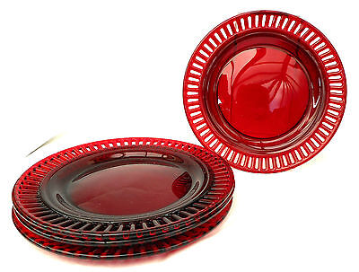 "4 ruby red glass 7"" side plates with ribbon rim"