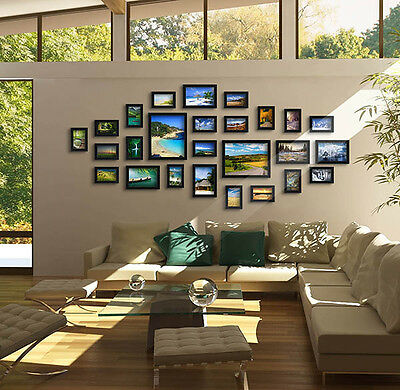us 17pcs photo frame set picture wall mounted art home dcor modern black