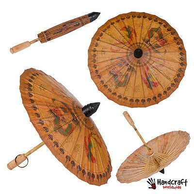 Vintage Asian Japanese Paper Rice Umbrella Parasol Bamboo Chinese Dragon  !