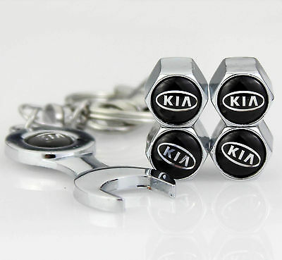 4pcs Auto Car Tyre Stems Air Cover Valve Caps + Wrench Keychain Key ring For fit