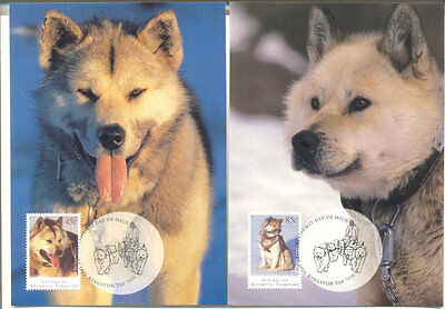 Australian Antarctic Territory-Huskies set of 4 cards & stamps(official)Dogs-pmk
