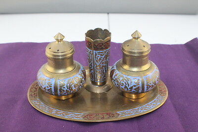 Asian / Indian Brass Salt and Pepper Shakers + Inserts + Toothpick Holder + Tray