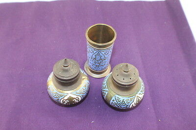 Asian / Indian Brass Salt and Pepper Shakers + Inserts + Toothpick Holder