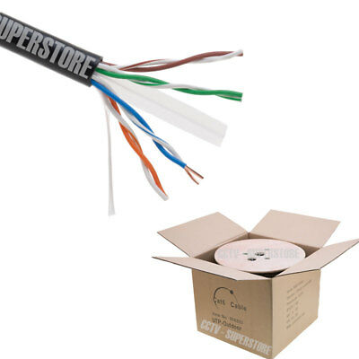 500FT Cat6 LAN Outdoor Cable Waterproof Burial Network Ethernet Solid 23 AWG