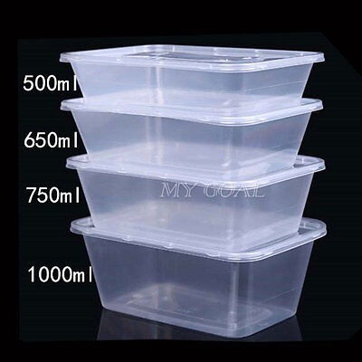 Microwave Safe Plastic Takeaway Food Containers Disposable Storage Lunch Box Lid