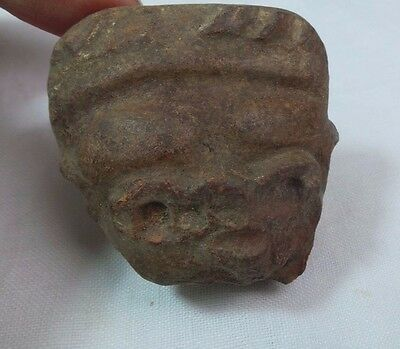 Pre Columbian Colombian Mayan Terracotta Figure  Head #7