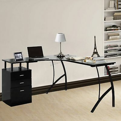 FoxHunter L-Shaped Corner Computer Desk PC Table Home Office Study CD04 Black