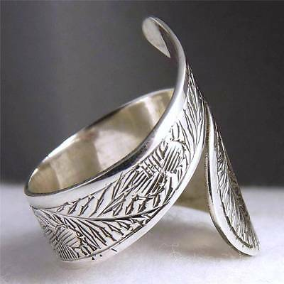 US 5-12 (Adjust) ~ 925 Solid Sterling Silver ~ SilverSari WRAP CARVING RING #3A
