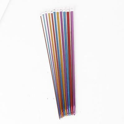 11 x Multicolour Aluminum Crochet Hooks Needles Knit Weave Craft Tool Set