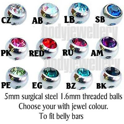 Screw on balls-choose your jewel colour 5mm surgical steel belly+tongue bar tops