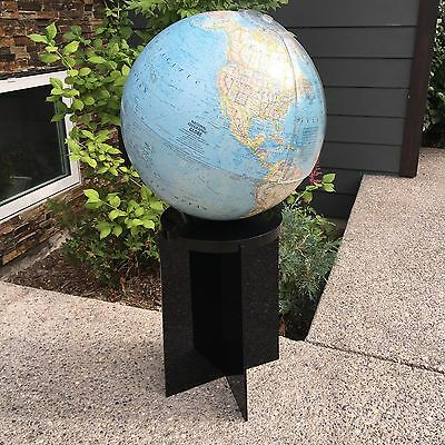"""1978 Mint National Geographic 32"""" Floor Globe Black Lucite Stand Terrestrial"""