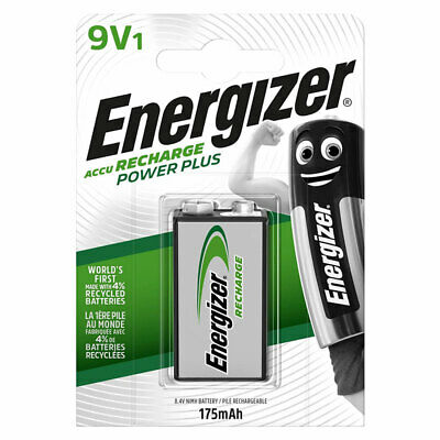 1 x Energizer Rechargeable 9V battery Recharge Power Plus NiMH 175mAh Block PP3
