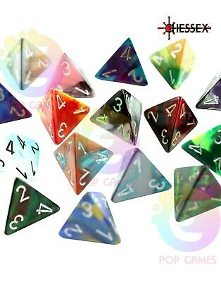 dadi d4 GEMINI Chessex COLORE CASUALE Pathfinder D&D RPG Warhammer quattro facce