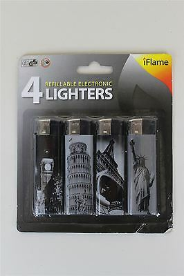 Pack Of 4 Refillable Electronic Lighters Polka Dot And Stripes