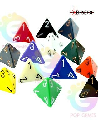 dadi d4 OPACHI Chessex COLORE CASUALE Opaque Pathfinder D&D RPG quattro facce