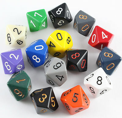 dadi d10 OPACHI Chessex COLORE CASUALE Opaque Pathfinder D&D RPG dieci facce