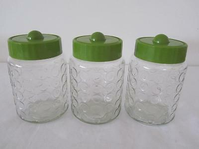 Set 3 Vintage RETRO 70'S GREEN LID BUBBLE GLASS JARS Canisters Storage Pantry
