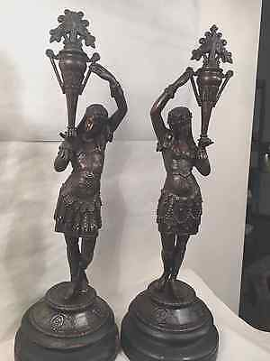 Antique Egyptian Revival Spelter Bronze Figural Newel Post Lamp Statue