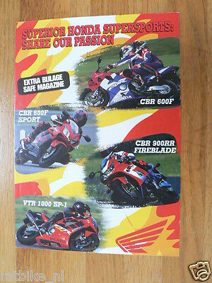 H288 Honda  Brochure Cbr600F,cbr900Rr,vtr1000 Sp-1 Dutch 4 Pages 2001 ?