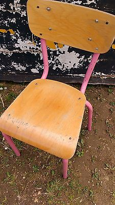 Pink Framed French Vintage School Chair. Mid century Industrial Retro