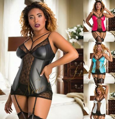 Nine X Sexy Plus Size Lingerie M-6XL PVC Wet Look Vinyl & Lace Fetish Babydoll