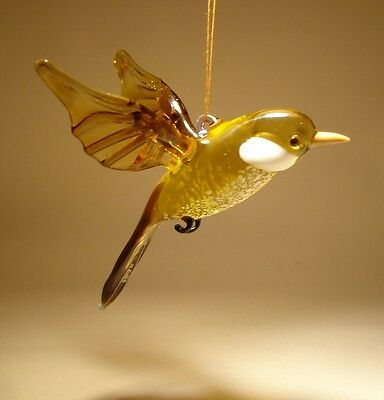 Blown Glass  Figurine Art Brown Hanging Bird SPARROW Ornament